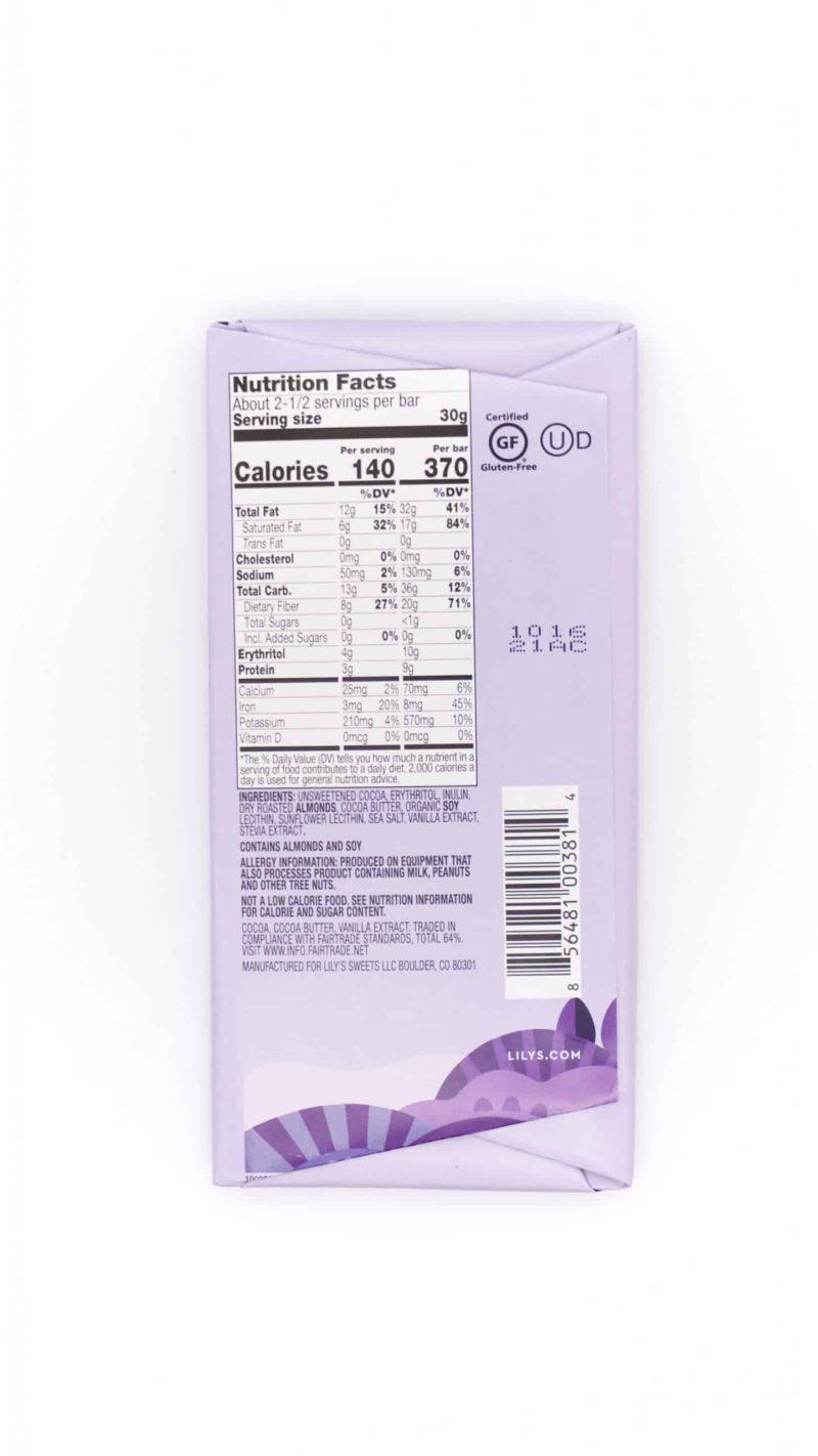 Lily's Salted Almond Extra Dark Chocolate 70% 3oz