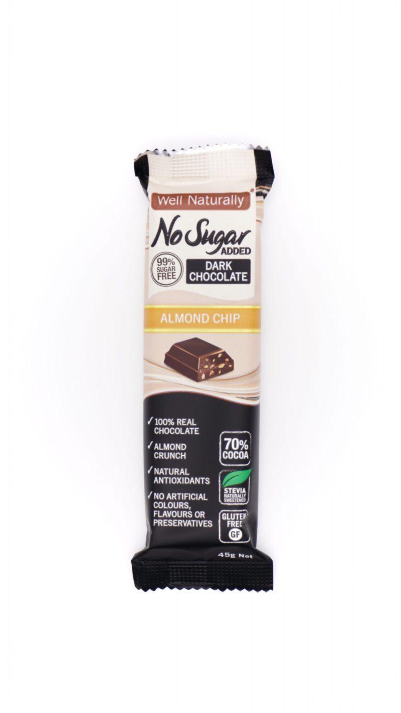 Well Naturally no sugar added almond chip dark chocolate 45g